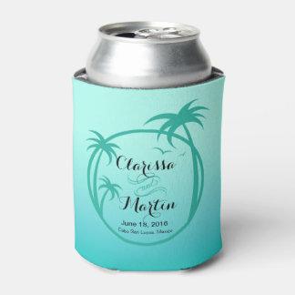 Aguamarina tropical del logotipo el | del Palm Enfriador De Latas