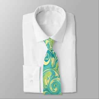 Aguamarina, verde, y lazo del remolino del mármol corbatas personalizadas