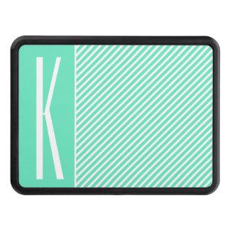 Aguamarina verde y rayas diagonales blancas tapas de tráiler