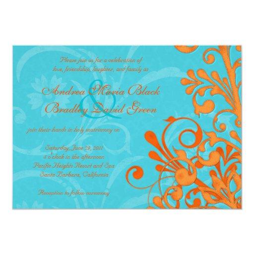 Aguamarina vibrante e invitación floral anaranjada
