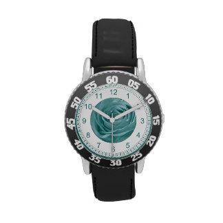 Aguamarina vibrante subió, fotografía floral de la relojes de pulsera