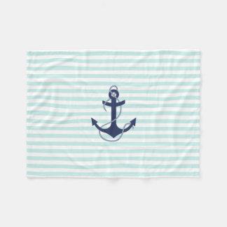 Aguamarina y ancla náuticas de los azules marinos manta de forro polar