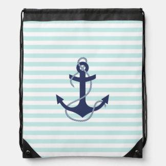 Aguamarina y ancla náuticas de los azules marinos mochila