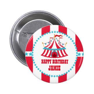 Aguamarina y botón rojo del cumpleaños del circo pin redondo de 2 pulgadas