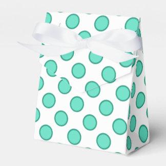 Aguamarina y caja blanca del favor de los lunares cajas para regalos de fiestas