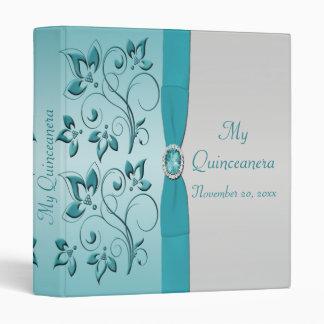 Aguamarina y carpeta floral de Quinceanera de la p
