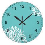 Aguamarina y coral blanco reloj redondo grande