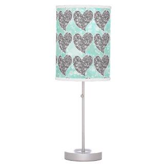 Aguamarina y corazones del brillo de la plata lámpara de escritorio