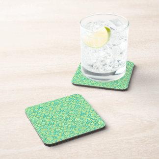 Aguamarina y damasco adornado del verde posavasos de bebida