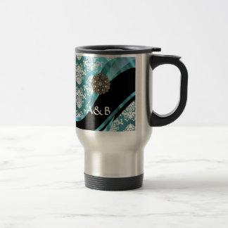 Aguamarina y damasco blanco con la falsa gema cris tazas de café