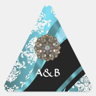 Aguamarina y damasco blanco con la falsa gema pegatina triangular