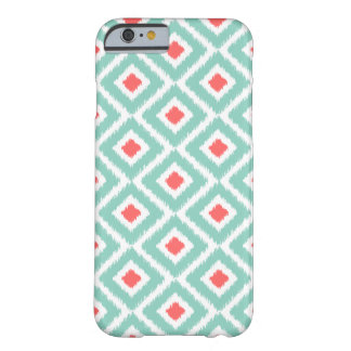 Aguamarina y diamantes coralinos de Ikat Funda De iPhone 6 Barely There