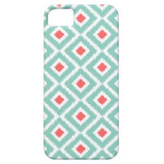 Aguamarina y diamantes coralinos de Ikat iPhone 5 Fundas