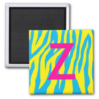 Aguamarina y estampado de zebra amarillo imán cuadrado