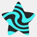 Aguamarina y estrella del diseño de la onda del ne calcomanias forma de estrella