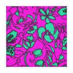 Aguamarina y impresión floral rosada impresión en lienzo estirada