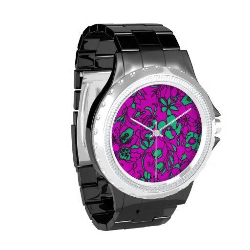Aguamarina y impresión floral rosada reloj