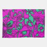 Aguamarina y impresión floral rosada toallas