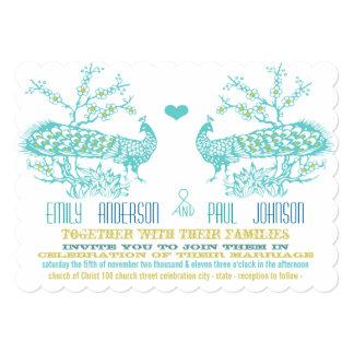 Aguamarina y invitaciones amarillas del boda del invitacion personalizada