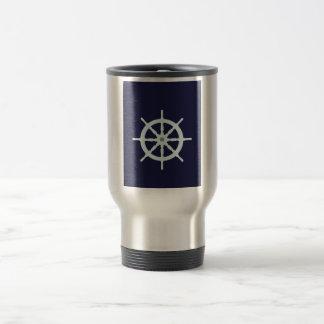 Aguamarina y la rueda de la nave gris taza de viaje de acero inoxidable