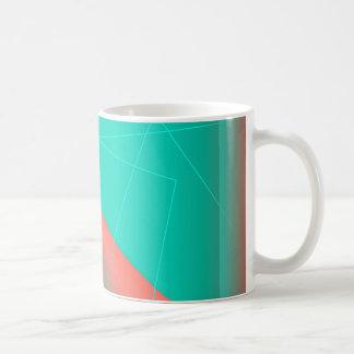 Aguamarina y líneas abstractas rojas taza de café