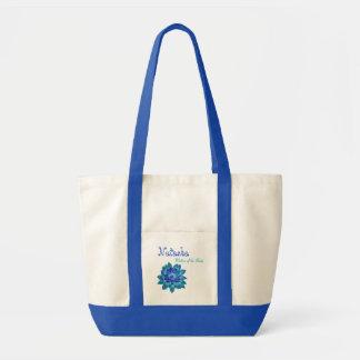 Aguamarina y madre de la flor del azul de cobalto  bolsa tela impulso