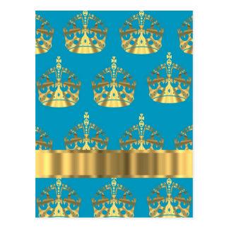 Aguamarina y modelo de la corona del oro tarjeta postal