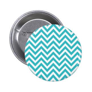 Aguamarina y modelo de zigzag blanco Chevron Pin Redondo De 2 Pulgadas