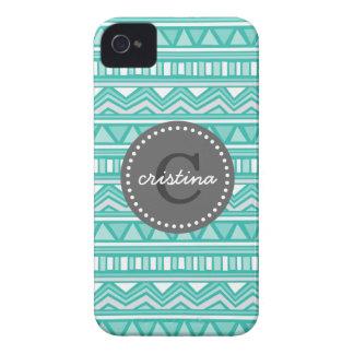 Aguamarina y monograma azteca del personalizado de Case-Mate iPhone 4 coberturas