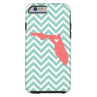 Aguamarina y monograma coralino de Chevron del Funda Para iPhone 6 Tough