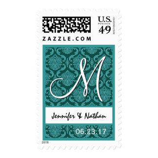 Aguamarina y monograma de los nombres del boda del timbre postal