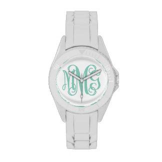 Aguamarina y monograma de muy buen gusto blanco de relojes de pulsera