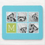 Aguamarina y monograma del collage de la foto de tapete de ratón