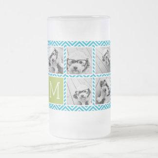 Aguamarina y monograma del collage de la foto de taza de café