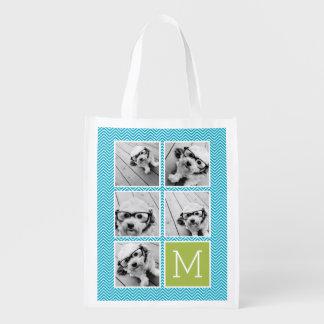 Aguamarina y monograma del collage de la foto de bolsas reutilizables