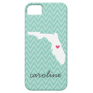 Aguamarina y monograma rosado de Chevron del amor iPhone 5 Carcasa
