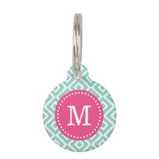 Aguamarina y monograma rosado de los diamantes de placa para mascotas