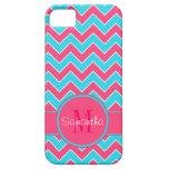 Aguamarina y monograma rosado del personalizado de iPhone 5 Case-Mate carcasa