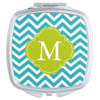 Aguamarina y monograma verde del modelo de zigzag espejos maquillaje