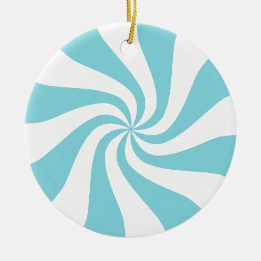 Aguamarina y ornamento blanco del navidad del adorno navideño redondo de cerámica