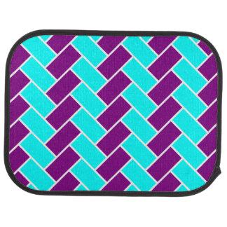 Aguamarina y piso púrpura de la raspa de arenque alfombrilla de coche
