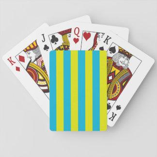 Aguamarina y rayas amarillas barajas de cartas