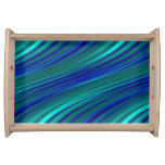Aguamarina y rayas onduladas del azul real bandeja