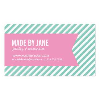 Aguamarina y rayas y cinta modernas del rosa tarjetas de visita