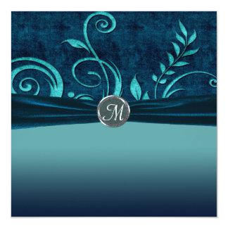 Aguamarina y remolino del boda del terciopelo de invitación 13,3 cm x 13,3cm