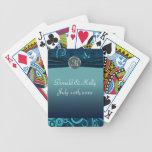 Aguamarina y remolino del boda del terciopelo de l baraja cartas de poker