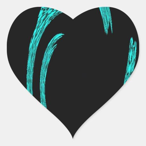 Aguamarina y remolinos del extracto del negro pegatina en forma de corazón