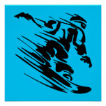 Aguamarina y silueta negra del Snowboarder Poster