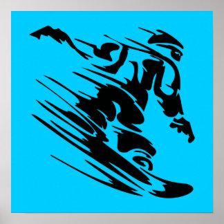 Aguamarina y silueta negra del Snowboarder Póster