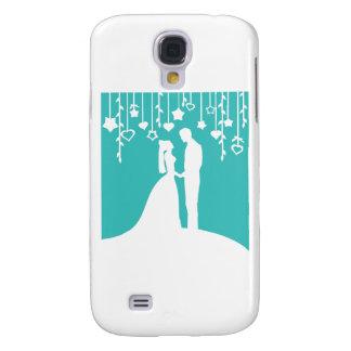 Aguamarina y siluetas blancas del boda de novia y